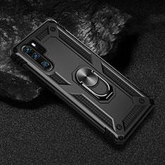 Huawei P30 Pro用ハイブリットバンパーケース プラスチック アンド指輪 マグネット式 R01 ファーウェイ ブラック
