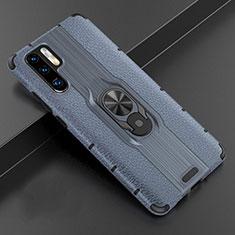 Huawei P30 Pro用シリコンケース ソフトタッチラバー レザー柄 アンド指輪 マグネット式 T06 ファーウェイ ネイビー