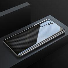 Huawei P30 Pro用炭素繊維ケース ソフトタッチラバー ツイル カバー T01 ファーウェイ ブラック