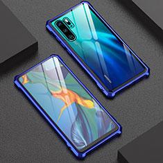 Huawei P30 Pro New Edition用ケース 高級感 手触り良い アルミメタル 製の金属製 バンパー 鏡面 カバー ファーウェイ ネイビー