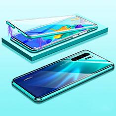 Huawei P30 Pro New Edition用ケース 高級感 手触り良い アルミメタル 製の金属製 360度 フルカバーバンパー 鏡面 カバー T03 ファーウェイ グリーン