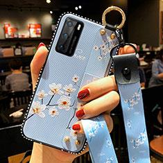 Huawei P40用シリコンケース ソフトタッチラバー 花 カバー S02 ファーウェイ ブルー