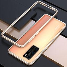 Huawei P40用ケース 高級感 手触り良い アルミメタル 製の金属製 バンパー カバー T01 ファーウェイ ゴールド