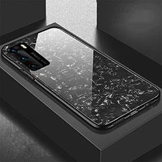 Huawei P40用ハイブリットバンパーケース プラスチック 鏡面 カバー T01 ファーウェイ ブラック