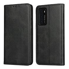 Huawei P40用手帳型 レザーケース スタンド カバー T11 ファーウェイ ブラック