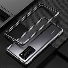 Huawei P40用ケース 高級感 手触り良い アルミメタル 製の金属製 バンパー カバー T04 ファーウェイ ブラック