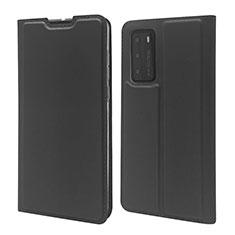 Huawei P40用手帳型 レザーケース スタンド カバー T12 ファーウェイ ブラック