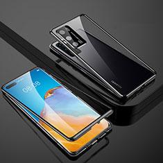 Huawei P40用ケース 高級感 手触り良い アルミメタル 製の金属製 360度 フルカバーバンパー 鏡面 カバー T07 ファーウェイ ブラック