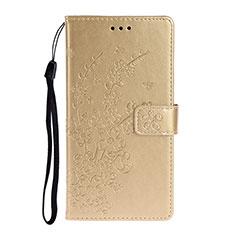 Huawei P40用手帳型 レザーケース スタンド カバー T15 ファーウェイ ゴールド
