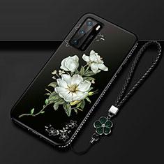 Huawei P40用シリコンケース ソフトタッチラバー 花 カバー S01 ファーウェイ ホワイト
