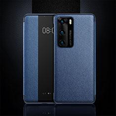 Huawei P40用手帳型 レザーケース スタンド カバー T16 ファーウェイ ネイビー
