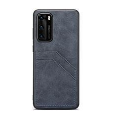 Huawei P40用ケース 高級感 手触り良いレザー柄 R08 ファーウェイ ブラック
