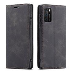 Huawei P40用手帳型 レザーケース スタンド カバー T18 ファーウェイ ブラック