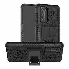 Huawei P40用ハイブリットバンパーケース スタンド プラスチック 兼シリコーン カバー R01 ファーウェイ ブラック