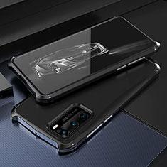 Huawei P40用ケース 高級感 手触り良い アルミメタル 製の金属製 カバー T03 ファーウェイ ブラック