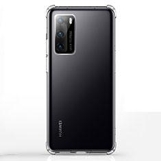 Huawei P40用極薄ソフトケース シリコンケース 耐衝撃 全面保護 クリア透明 K02 ファーウェイ クリア