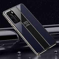 Huawei P40用ハイブリットバンパーケース プラスチック 鏡面 カバー T03 ファーウェイ ネイビー