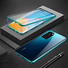 Huawei P40用ケース 高級感 手触り良い アルミメタル 製の金属製 360度 フルカバーバンパー 鏡面 カバー T01 ファーウェイ グリーン