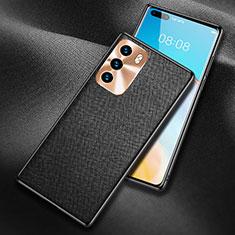 Huawei P40用ケース 高級感 手触り良いレザー柄 N03 ファーウェイ ブラック