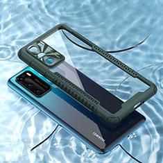 Huawei P40用ハイブリットバンパーケース クリア透明 プラスチック 鏡面 カバー N03 ファーウェイ モスグリー