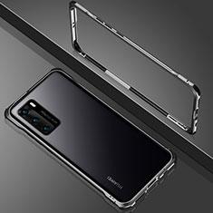 Huawei P40用ケース 高級感 手触り良い アルミメタル 製の金属製 360度 フルカバーバンパー 鏡面 カバー N02 ファーウェイ ブラック