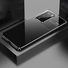 Huawei P40用ケース 高級感 手触り良い アルミメタル 製の金属製 カバー N01 ファーウェイ ブラック