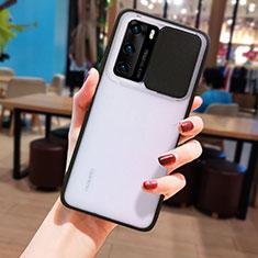 Huawei P40用ハイブリットバンパーケース クリア透明 プラスチック 鏡面 カバー N05 ファーウェイ ブラック