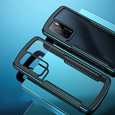 Huawei P40用ハイブリットバンパーケース クリア透明 プラスチック 鏡面 カバー N01 ファーウェイ シアン