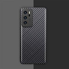 Huawei P40用炭素繊維ケース ソフトタッチラバー ツイル カバー ファーウェイ ブラック