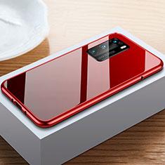 Huawei P40用ケース 高級感 手触り良い アルミメタル 製の金属製 360度 フルカバーバンパー 鏡面 カバー N01 ファーウェイ レッド・ブラック