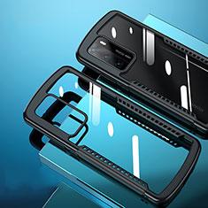 Huawei P40用ハイブリットバンパーケース クリア透明 プラスチック 鏡面 カバー N02 ファーウェイ ブラック