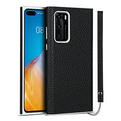 Huawei P40用ケース 高級感 手触り良いレザー柄 N01 ファーウェイ ブラック