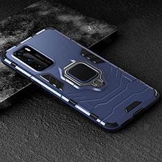 Huawei P40用ハイブリットバンパーケース プラスチック アンド指輪 マグネット式 ファーウェイ ネイビー