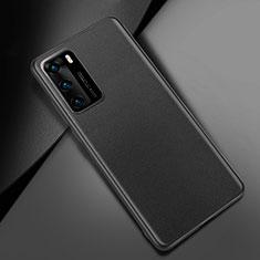 Huawei P40用ケース 高級感 手触り良いレザー柄 ファーウェイ ブラック