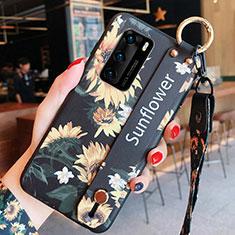 Huawei P40用シリコンケース ソフトタッチラバー 花 カバー ファーウェイ オレンジ