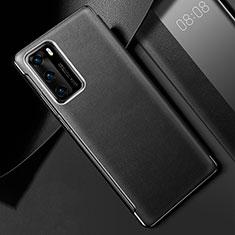 Huawei P40用ケース 高級感 手触り良いレザー柄 S02 ファーウェイ ブラック