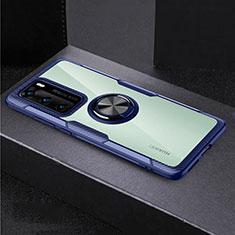 Huawei P40用360度 フルカバーハイブリットバンパーケース クリア透明 プラスチック 鏡面 アンド指輪 マグネット式 ファーウェイ ネイビー