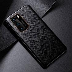 Huawei P40用ケース 高級感 手触り良いレザー柄 S03 ファーウェイ ブラック