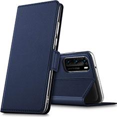 Huawei P40用手帳型 レザーケース スタンド カバー L05 ファーウェイ ネイビー