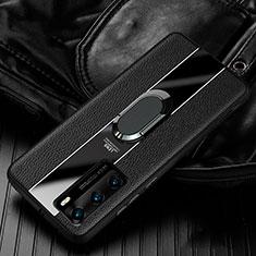 Huawei P40用シリコンケース ソフトタッチラバー レザー柄 アンド指輪 マグネット式 S04 ファーウェイ ブラック