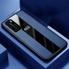 Huawei P40用シリコンケース ソフトタッチラバー レザー柄 カバー S04 ファーウェイ ネイビー