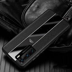 Huawei P40用シリコンケース ソフトタッチラバー レザー柄 カバー S05 ファーウェイ ブラック