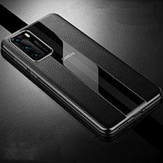 Huawei P40用シリコンケース ソフトタッチラバー レザー柄 カバー S06 ファーウェイ ブラック