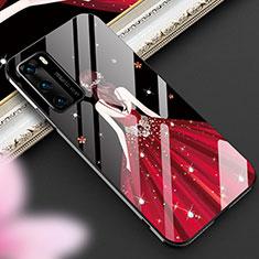 Huawei P40用ハイブリットバンパーケース プラスチック ドレスガール ドレス少女 鏡面 カバー ファーウェイ レッド