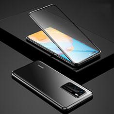 Huawei P40用ケース 高級感 手触り良い アルミメタル 製の金属製 360度 フルカバーバンパー 鏡面 カバー ファーウェイ ブラック