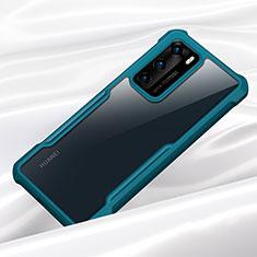 Huawei P40用ハイブリットバンパーケース クリア透明 プラスチック 鏡面 カバー M01 ファーウェイ シアン
