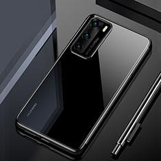 Huawei P40用極薄ソフトケース シリコンケース 耐衝撃 全面保護 クリア透明 H02 ファーウェイ ブラック