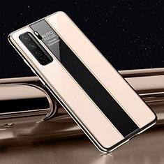 Huawei P40 Lite 5G用ハイブリットバンパーケース プラスチック 鏡面 カバー T01 ファーウェイ ゴールド