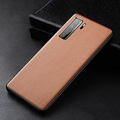 Huawei P40 Lite 5G用ケース 高級感 手触り良いレザー柄 R02 ファーウェイ ブラウン