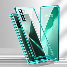 Huawei P40 Lite 5G用ケース 高級感 手触り良い アルミメタル 製の金属製 360度 フルカバーバンパー 鏡面 カバー T02 ファーウェイ シアン
